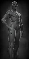 Female Drell - Grayscale by Skelletang