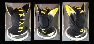 Hoodie Hat Stitches Black and Gold by MissRaptor