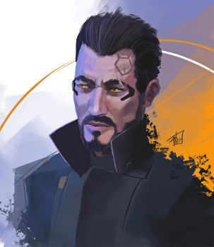 Adam jensen - quick portrait by DeadlyNinja