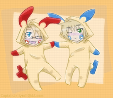 usuk :: lil pokemanz // art trade by CaptainJellyroll