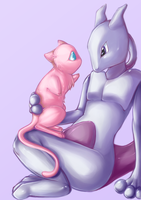 Mew and Mewtwo revamped by zanthu