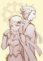 Turnabout Steampunk: Mia and Diego by RabbitonBooks