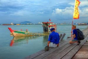 The retiree and the tourist, Tan Jetty Penang by fighteden