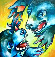 Dog Fight by ClaraBacou