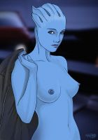 Mass Effect, Liara topless by Agregor