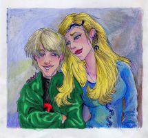 Draco and Narcissa, HP cartoon by AmberPalette