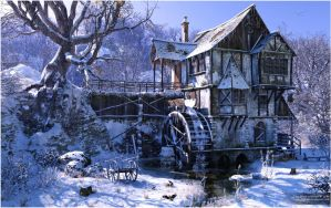 Watermill in Winter Mood by neanderdigital