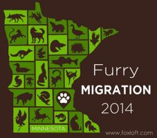Furry Migration 2014 T-shirt Design by Foxfeather248