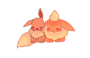 Eevee and Flareon by PandyPan
