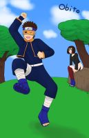 Obito and Rin as kids (Request) by kitkatnis
