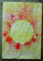 Writing paper: red sun by Elescave