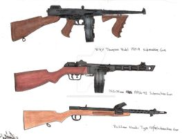 Assorted pre-1945 SMGs by stopsigndrawer81