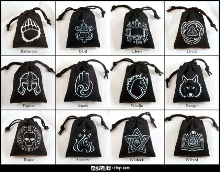Fantasy RPG Class Dice Bags by Pasiphilo