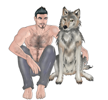 OC Commission - Dude and Wolf by emilytarot