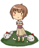 Leanna with chickens by lelacelu