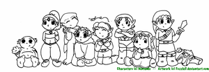 Legend of Zelda Babies Lineart by Fuzzle5