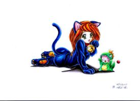 Kim cat and Rufus dragon by AniMacGyver