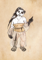 Adoptable: A Pandaren in a Gown by SketchyBailey