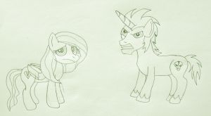 MLP - Jessica and Lionel Cosmos, Lineart by MetroXLR