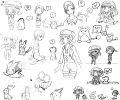 Pokemon Sketch Dump by EmmytheCat