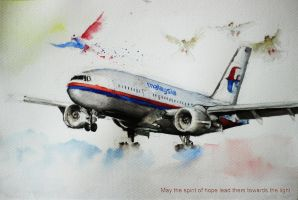 Malaysia Airlines B777 Watercolour by xirage1992