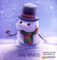 Daily Paint 1483. Snow Manatee by Cryptid-Creations