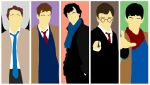 Cas, Doc, Holmes, Potter and Merlin by The-Blind-Kunoichi