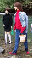 Nadia and Student Wading in River on Field Trip by peerlesspenny