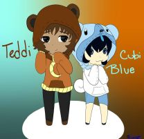 Teddi and Cubi Blue by BluePawArt