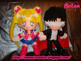 Sailor Moon and Tuxedo Kamen plush version by Momoiro-Botan