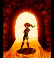 Link enters a water temple by Kathisofy