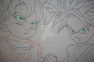 ''Heroes of the day'' Son Goten and Trunks by SakakiTheMastermind
