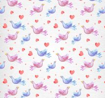 Painted bird and love seamless background vector by FreeIconsdownload
