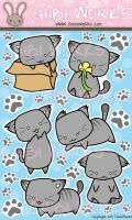 Chibi Kitty Sticker Sheet by ChibiWorks