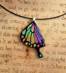 Fused Glass Rainbow Swallowtail Wing by FusedElegance