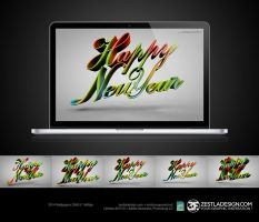 Happy New Year Wallpapers 2560x1600px by zestladesign