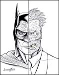 Batman VS. Twoface (ink) by barneybluepants