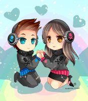 -- Chibi couple commission for mariekythe -- by Kurama-chan