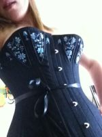 Black coutil corset with embroidery by A-rose-and-a-lily