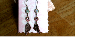 Angel Wing Earrings with Pink and Diamond Crystal by artistiquejewelry