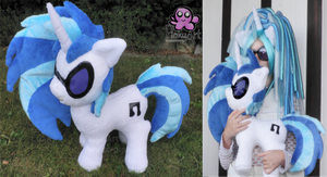 huge DJ pon3 / Vinyl Scratch plush by PinkuArt
