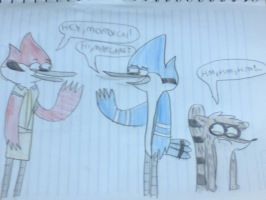 Margaret,Mordecai and Rigby (REGULAR SHOW STYLE) by LotusTheKat