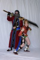 Rikku and Auron Battle stance by silvver
