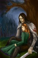 Sandor Clegane and Sansa Stark by Vertials