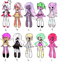 [batch 1 leftover sale] abc monster girl adopts by oeiI