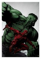 Hulk and Daredevil by spidermanfan2099