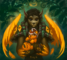 Worgen with the Cinder Kitten by lowly-owly