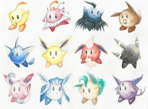 Kirby Variations - Princess Tutu and Eeveelutions by Leafwhisper44