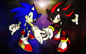 Sonic and Shadow Coloring Test by XNinjaRed