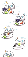 Amochika eating fruit. by emlan